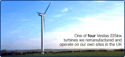 One of four Vestas 225kw wind turbines we operate on our own sites in the UK
